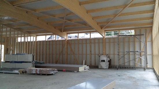 14.11.2014 - Das Gerüst zur Vorbereitung Montage Dach und Regenrinne